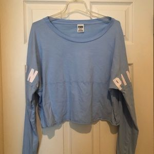Pink Blue cropped Tee